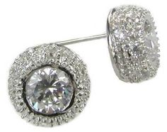 Silver Plated Posts 5mm Bezel Set Clear Round Shape Cubic Zirconia CZ Crystal Stud Earrings