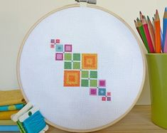 Colorful Squares Modern Cross Stitch por ModernStitchTherapy