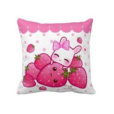 Kawaii bunny with strawberries cushion case - ChibiBunny