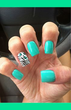 aqua and animal print nails!
