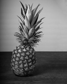 Pineapple Art Photograph Print Fruit Food Photography Kitchen Decor Black and White 8x10