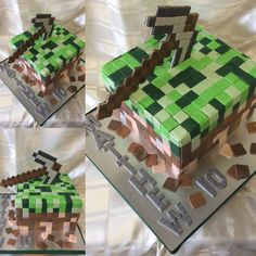 Minecraft Cake in chocolate cake all handmade and decorated in fondant