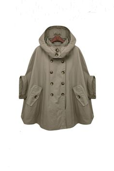 green cape trench cape GREEN double breasted button winter coat Hood cloak Hoodie cape Hooded Cape/ FM024. $79.00, via Etsy. I WANT THIS SO BAD.