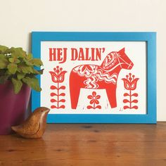 Swedish Dala Horse Linocut Print by Woah there Pickle, the perfect gift for Explore more unique gifts in our curated marketplace. Silly Words, Scandinavian Folk Art, Envelope Art, Horse Print, Card Envelopes, Linocut Prints, Christmas Crafts, Art Pieces, Horses