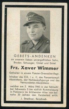 orig WK2 STERBEBILD - DEATH CARD - Hoch dekorierter Gefreiter EK1 - NKS KIA 1945
