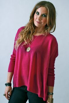 Subtle Luxury, Over-sized Loose and Easy Cashmere Sweater in Pansy and Coal Black. vivadivaboutique.com