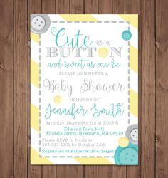 Cute as a Button Baby Shower Invitation | Cute as a button | Baby Shower Invitation | Gender Neutral | Yellow & Grey by bauderdesignstudio on Etsy