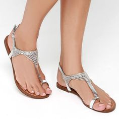 What's Hot. Silver Beaded Thong Sandals