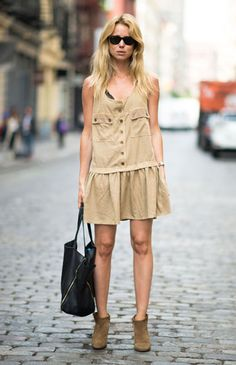 NY beige ankle boots with short dress