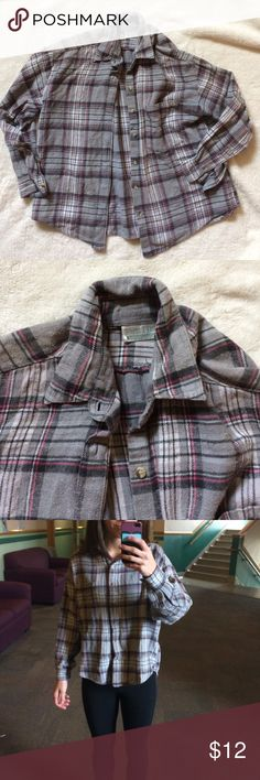Grey and pink everyday flannel Like new condition! Really soft and warm. All buttons in tact. Van Heusen Tops