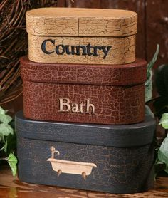 "3 Primitive Coutry Bath Oblong Nesting Boxes - Small 9"" High When Stacked - Perfect for Primitive Country Home Decor by Your Hearts Desire, http://www.amazon.com/dp/B0096T7T64/ref=cm_sw_r_pi_dp_eulorb1AZ93HP"