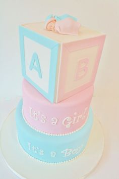 Baby Shower Cakes NJ - Twins Blocks Custom Cakes