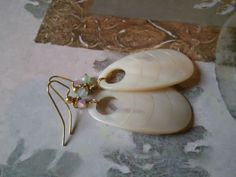 Mother of pearl earrings by Tootsiejos on Etsy, $18.00