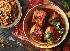 Apricot Ginger Glazed Pork with Apricot Rice Pilaf