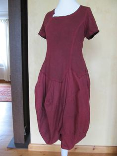 RUNDHOLZ Black Label Kleid Lagenlook rot bordeaux barolo oiled M neuwertig