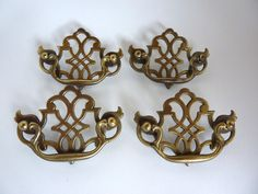 Vintage Brass Hardware 4 Drawer Pull Set Bail Handle  Antique Brass Finish Ornate Fretwork Chippendale Style USA Made Replacement Hardware by BonniesVintageAttic on Etsy