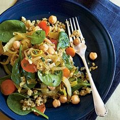 Provencal style chick peas over quinoa with spinach