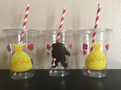 Birthday Favors, 3rd Birthday, Party Favors, Birthday Parties, Beauty And Beast Birthday, Beauty And The Beast Party, Pokemon Birthday, Party Cups, Holidays And Events