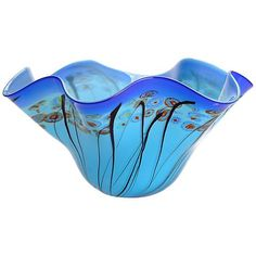 Abstract flowers set on a blue sky background offer artful elegance to this contemporary art glass bowl. Style # at Lamps Plus. Greenery Centerpiece, Blue Sky Background, Blue Art, Abstract Flowers, Decorative Bowls, Glass Art, Contemporary Art, Lamps, Bloom