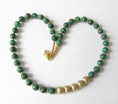 Malachit-Kette (synth.) Collier grün-gold von soschoen auf DaWanda.com