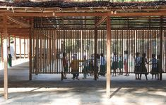 Built by Ackermann+Raff in Ngwesaung, Myanmar with date Images by Julia Raff. The new high school project was developed in cooperation with the German NGO Projekt Burma. School Architecture, Architecture Design, Bamboo Architecture, Public School, High School, Francis Kere, Simple Floor Plans, Low Cost Housing, Bamboo House