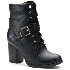 Apt. 9® Negotiate Women's High Heel Combat Boots ($80) ❤ liked on Polyvore featuring shoes and boots