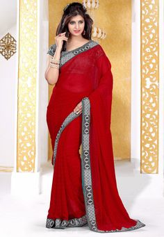 Red Color Chiffon Designer Saree