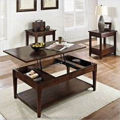 Steve Silver Company Crestline 3 Piece Lift Top Cocktail Table Set in Distressed Walnut - CL200CL-3Pc-PKG - Lowest price online on all Steve Silver Company Crestline 3 Piece Lift Top Cocktail Table Set in Distressed Walnut - CL200CL-3Pc-PKG