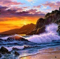 Sunrise Paint by Number Kits Sunset Seaside DIY Kit Ocean Waves Painting on canvas Adult wall art Home Decor Craft DIY Kit Gift Idea Ocean Wave Painting, Ocean Art, Ocean Waves, Acrylic Painting Canvas, Diy Painting, Art Soleil, Images D'art, Paint By Number Kits, Canvas Home