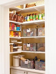 This pantry is organized for the meal planner by using wire mesh baskets to organize the ingredients for weekly meals. For example, in one basket you have a pack of pasta, jar of sauce, baguette, etc. for the night you are going to make spaghetti. So you just pull that basket out and you have all the pantry items you need for your recipe ready to go. This is so genius!