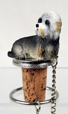 Realistic Hand Painted Adorable Dandie Dinmont Figurine on Wine Bottle… Wine Bottle Corks, Wine Bottle Stoppers, Cork Stoppers, Dandie Dinmont Terrier, Terrier Dogs, Pewter, Hand Painted, Puppies, Cool Stuff
