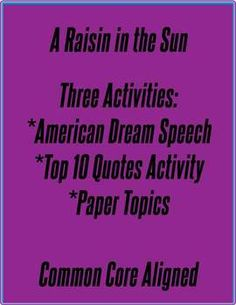 A Raisin in the Sun: three activities.