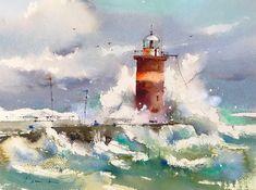 "2,097 Likes, 17 Comments - Blanca (@blancaalvarezwatercolors) on Instagram: ""Acuarela sobre papel 28x38 cm #acuamalaga #malaga #lighthouse #seascape #watercolor…"""