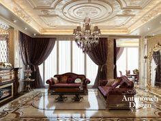 Классическая гостиная отображает весь аристократизм и благородство своих владельцев. Роскошная и комфортная мебель цвета гнилой вишни, инкрустированная сусальной позолотой, пол из натурального мрамора, богатый декор потолка и лепнина стен. Торжественное настроение гарантированно царит здесь.