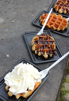 Belgian waffles in Bruges.  The one with the whipped cream, please!