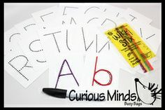 Alphabet Trace Cards With Wikki Sticks and Dry Erase Marker  This busy bag is a great way to learn/recognize the letters of the alphabet. ...