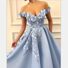 Charming Blue Tulle Flower Long Prom Dresses, Sexy Blue Evening Party Dress, Shop plus-sized prom dresses for curvy figures and plus-size party dresses. Ball gowns for prom in plus sizes and short plus-sized prom dresses for Baby Blue Dresses, Blue Evening Dresses, Summer Dresses, Light Blue Quinceanera Dresses, Evening Gowns, Evening Outfits, Quince Dresses, Party Gown Dress, Ball Gown Dresses