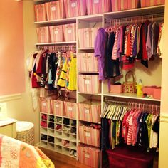 Girl's closet-patterned bins