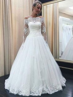 Chic Off-the-Shoulder Long Sleeve Wedding Dress Tulle Lace Bridal Gowns Modest Wedding Dresses With Sleeves, Prom Dresses Two Piece, Dresses Short, White Wedding Dresses, Boho Wedding Dress, Bridal Lace, Bridal Dresses, Wedding Gowns, Lace Wedding