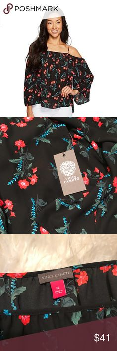 """Vince Camuto Havana Brights Cold Shoulder Blouse A beautiful blouse to add to your spring wardrobe. Size Petite Large. 100% Polyester. Machine wash cold - Gentle cycle. Rich black background with red, blue and green flowers. Flowy, feminine, and beautiful!  Measurements (flat lay) Chest: 20"""" pit to pit Length: front 19"""", back 22"""" taken from center of collar Vince Camuto Tops Blouses"""