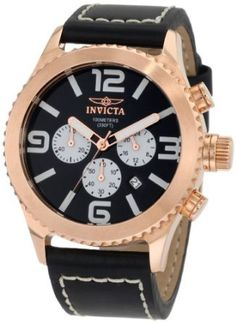 Invicta Men's 1429 II Collection Chronograph Black Dial Leather Watch - - With a bold black dial dressed in rose gold and a stylishly stitched leather band, the Invicta Men's Chronograph Black Dial Leather Patek Philippe, Black Leather Watch, Leather Men, Devon, Cartier, Omega, Brand Name Watches, Hand Bracelet, Stitching Leather