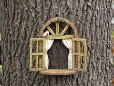 Fairy Garden Accessories Window with bird - miniature garden accessory - window for tree - fairy garden supply - miniature garden supplies by TheLittleHedgerow on Etsy https://www.etsy.com/listing/253003855/fairy-garden-accessories-window-with