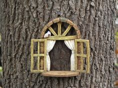 Fairy Garden Accessories Window with bird - miniature garden accessory - window for tree - fairy garden supply - miniature garden supplies by TheLittleHedgerow on Etsy https://www.etsy.com/listing/253003855/fairy-garden-accessories-window-with