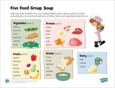 LeapFrog printable: 5 Food Group Soup