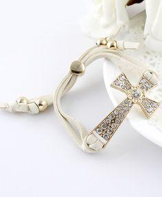 Gold Diamond Cross White Bracelet 6.16