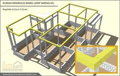 ring-balk-desain-rumah-minimalis-3-kamar House Construction Plan, Small House Design, Home Design Plans, My Dream Home, Wine Rack, Building A House, Sweet Home, How To Plan, Storage