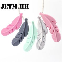 Beads Feather Teether Silicone Pendant