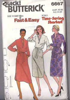 UNCUT FF 70s glam Butterick 6667  chemise or by StarletPatterns