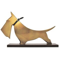Carl Aubock Scotch Terrier Art Deco Sculpture from the 1920's | From a unique collection of antique and modern animal sculptures at http://www.1stdibs.com/furniture/more-furniture-collectibles/animal-sculptures/