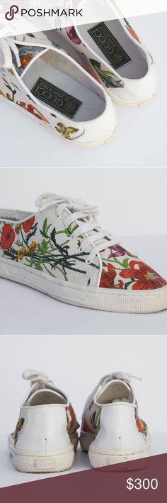 Vintage Gucci Floral Tennis Shoes Trainers 90s Vintage. These have been in storage, I haven't tried to clean them. Gucci Shoes Sneakers